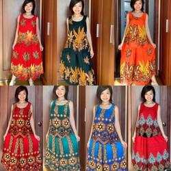 Thời trang nữ trung niên bộ tole Thái quần ống rộng hoa văn đẹp 50 -75KG