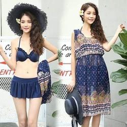 áo bơi nữ set3 chi tiết kèm váy voan 48 đến 60 kg