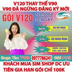 [FREE SHIP ] sim 4G viettel V120 60GB giống v90 lên mạng nghe gọi miễn phí được chọn số