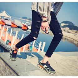 Quần jeans nam rách đùi phong cách LAHstore, thời trang trẻ, phong cách Hàn Quốc