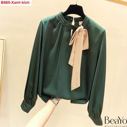 B685- áo kiểu cổ cách điệu nơ rời-Size S, M, L, XL, 2XL