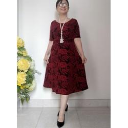 Váy Đầm Trung Niên Kim Tuyến Dáng Xòe