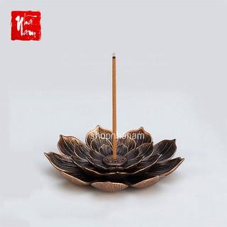 Đế cắm nhang vòng, đặt hương cây hình hoa sen lớn thắp hương để lư trầm phụ kiện thác khói - CamNhangHoaSenLon thumbnail