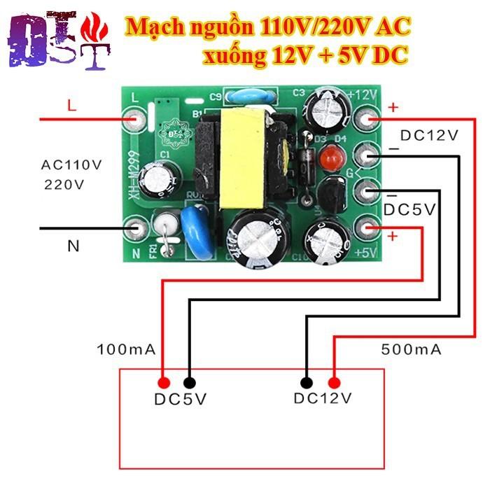 Mạch nguồn 110V 220V AC xuống 12V + 5V DC