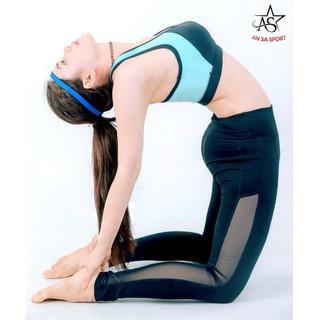 Quần legging thể thao nữ ANSA phối lưới dọc màu đen - QD4 thumbnail