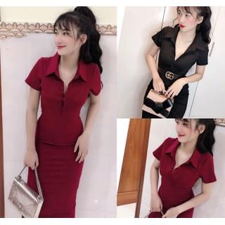 Đầm Body cổ Sơ Mi dáng ôm body thích hợp nơi công sở dự tiệc ĐẦM BODY CỔ BẺ TAY NGẮN - NO90 thumbnail