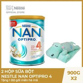 Mua 2 Hộp sữa bột Nestle NAN Optipro 4 - 900g, Tặng 1 Bộ gối mền hà mã - NAN029149