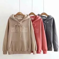 Áo hoodie nỉ ngoại cao cấp thêu DILIG - không xù lông form 65kg
