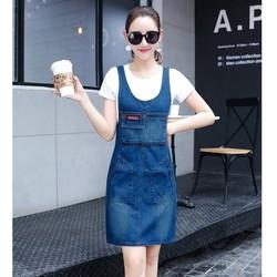 Đầm Jean Yếm Cách Điệu Phối Túi Cá Tính