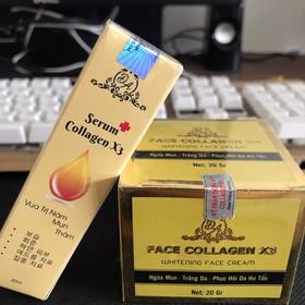 Combo dưỡng da, phục hồi hư tổn da gồm kem face collagen x3 và Serum collagen x3 - comboserumx3&kemfacex3