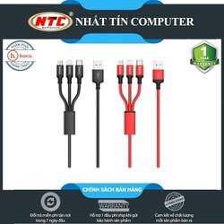 Cáp sạc đa năng 3in1 Hoco X14 cổng microUSB, Lightning, Type-C dài 1M, max 2.4A - Hãng phân phối chính thức