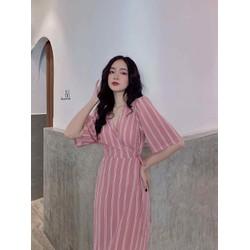 Đầm sọc kẻ hồng pastel
