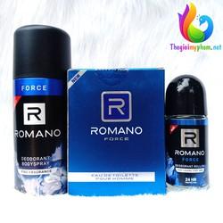 Combo Romano Force: Nước Hoa 50ml + Xịt khử mùi 150ml + Lăn Khử mùi 50ml