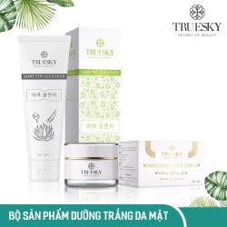 Bộ sản phẩm dưỡng trắng da mặt Truesky VIP07 gồm 1 sữa rửa mặt trắng da 60ml và 1 kem dưỡng trắng da mặt 10g