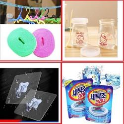 đồng giá ngành nhà cửa -2 cuộn dây phơi - 12 hũ thủy tinh làm sữa chua-2 gói tẩy lồng giặt-30 móc siêu dính-2 tấm chắn dầu mỡ- 2 cuộn giấy lau đa năng