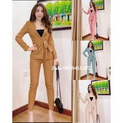 Set Bộ xếp ly 3 món_ Áo khoác vest áo ống lót và quần dài