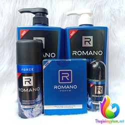 Combo Romano Force: Dầu gội 650g, sữa tắm 650g, xịt khử mùi 150ml+ Lăn khử mùi 50ml + Nước hoa 50ml