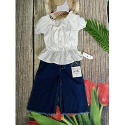 Sét quần jean ống suông phối áo thiết kế bánh bèo cho bé gái