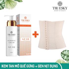 Bộ sản phẩm tan mỡ bụng Truesky gồm 1 kem tan mỡ bụng quế gừng 100ml & 1 đai nịch bụng quấn nóng cao cấp - TRUESKY_GEL_GEN
