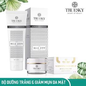 Bộ sản phẩm dưỡng trắng và trị mụn da mặt gồm 1 kem dưỡng trắng da mặt Hàn Quốc 10g & 1 sữa rửa mặt trị mụn trắng da 60ml - Mỹ phẩm chính hãng - TRUESKY_ SRM + FACE10