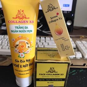 Bộ 3 dưỡng da và phục hồi da collagen x3 gồm: 1 hủ kem face, 1 sữa rửa mặt, 1 serum - bo3duongdamatx3