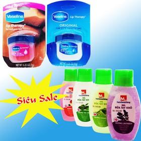 Combo 01 Sáp dưỡng môi Vaseline 7gr Unilever + 01 chai 60ml GEL rửa tay khô khử trùng và khử mùi M hương lavender và hương táo...,[ Shop Hổ trợ phí vận chuyển ]  - 1 duong moi + 1 gel