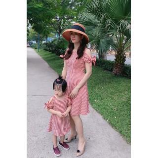 Đầm đôi mẹ và bé-Hàng thiết kế cao cấp - MB caro đỏ thumbnail