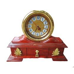 Đồng hồ ngăn kéo để bàn gỗ hương đồng hồ dáp vàng