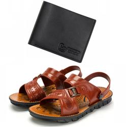 Giày Sandal Nam Quai Ngang Nam Huabu Sport Hot trend 2020 Giày màu nâu + Tặng Ví nam Pu thời trang