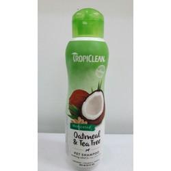 Dầu gội thú cưng chiết xuất từ yến mạch và tràm trà, dùng cho da khô và ngứa TropiClean Oatmeal & Tea Tree Pet Shampoo
