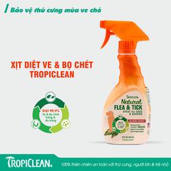 TropiClean Natural Flea & Tick Dog & Bedding Spray 16 oz Xịt diệt ve và bọ chét cho chó và ổ chó dùng cho chó trưởng thành và chó con trên 12 tuần tuổi từ thiên nhiên