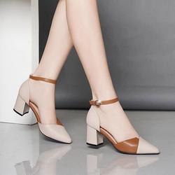 Giày cao gót đế vuông 5cm phối màu cực xinh