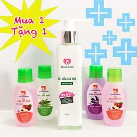 [Mua 1 tặng 1] Combo 01 Gel rửa tay khô kháng khuẩn Nasin Care 250ml + 01 Gel rửa tay khô nhỏ gọn 60ml hương trái cây, HSD đến 36 tháng. - mua 1 lon tang 1 nho gel