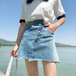 Chân váy jeans nút xéo Mã: VN785