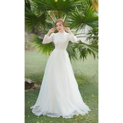 Đầm dạ hội cưới cổ trụ tay dài váy xoè phồng, đầm cưới cô dâu kín đáo nhẹ nhàng giá rẻ chụp ảnh cưới Hàn Quốc