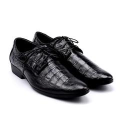 Giày tây nam da bò vân cá sấu Huy Hoàng màu đen LSD7128