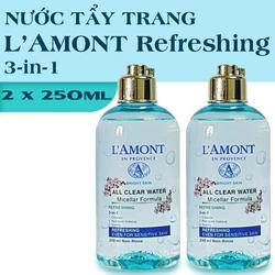 Combo 2 Nước Tẩy Trang LAmont Tươi Mát Sáng Da All Clean Water Micellar Fomula Refreshing 250ml-chai