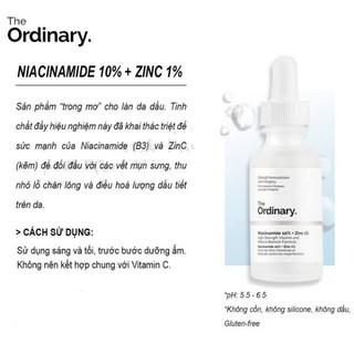 Tinh chất giảm mụn thâm The Ordinary Niacinamide 10% + Zinc 1% - zinc ordinary thumbnail