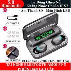 Tai Nghe Bluetooth 5.0 Amoi F95 có đèn LED - (tai nghe không dây) Chống Nước - Chống ồn - Tích Hợp Micro - Tự Động Kết Nối - Nhỏ gọn - Âm Thanh 8.0 HD - Tương Thích Cao Cho Tất Cả Điện Thoại