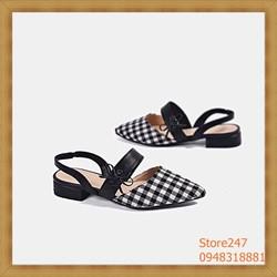 Giày nữ – giày lười nữ giá rẻ – Sandal mũi nhọn thắt nơ SIÊU HOT kẻ caro