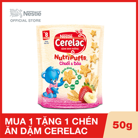 Mua 1 Hộp Bánh ăn dặm dinh dưỡng Nestlé Cerelac Nutripuffs vị Chuối Dâu - Gói 50g, Tặng 1 chén ăn dặm Cerelac - NES030512