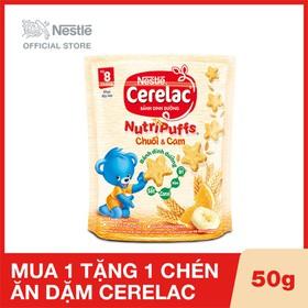 Mua 1 Hộp Bánh ăn dặm dinh dưỡng Nestlé Cerelac Nutripuffs vị Chuối Cam - Gói 50g, Tặng 1 chén ăn dặm Cerelac - NES030511