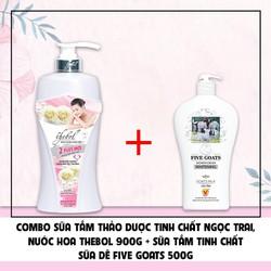 Combo sữa tắm ngọc trai Thebol 900g + Sữa tắm sữa dê Five Goats 500g