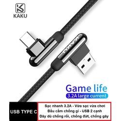 Cáp sạc USB type C chơi game vuông góc KAKU - Sạc nhanh 3.2A - Dây dù chống đứt gãy - USB 2 cạnh - chuyên cho smartphone android