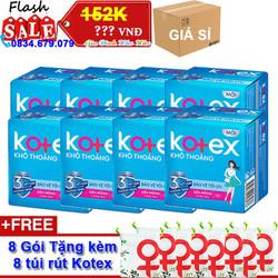 [GIÁ SỈ] Combo 8 Gói Băng vệ sinh Kotex Khô Thoáng Siêu Mỏng Cánh 23cm x Gói 8 miếng - Kèm 8 túi rút mini