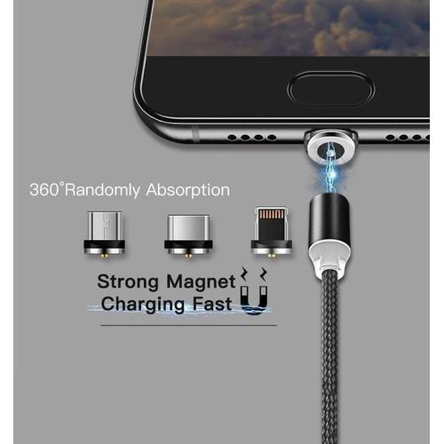 [SẬP GIÁ] CÁP SẠC TỪ HÍT NAM CHÂM DÂY DÙ 3IN1 -Samsung - Iphone - Type-C