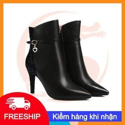 Giày bốt nữ cao cấp gót nhọn 7cm cổ cao sành điệu Ro26 - Bảo hành 12 tháng - Đổi hàng nếu ko ưng ý