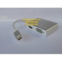 Cáp chuyển đổi USB -type C to VGA+ DVI + HDMI + USB Cao Cấp ( 4 in 1 )