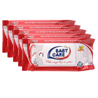 Combo 5 gói Khăn ướt Baby care 30 tờ - Hương phấn, tinh chất lô hội dưỡng da - 8936072190245-5 thumbnail