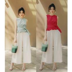 Sét áo peplum và quần ống rộng sang chảnh - nhiều size, form dáng chuẩn dễ mặc đi làm, dạo phố, du lịch đẹp